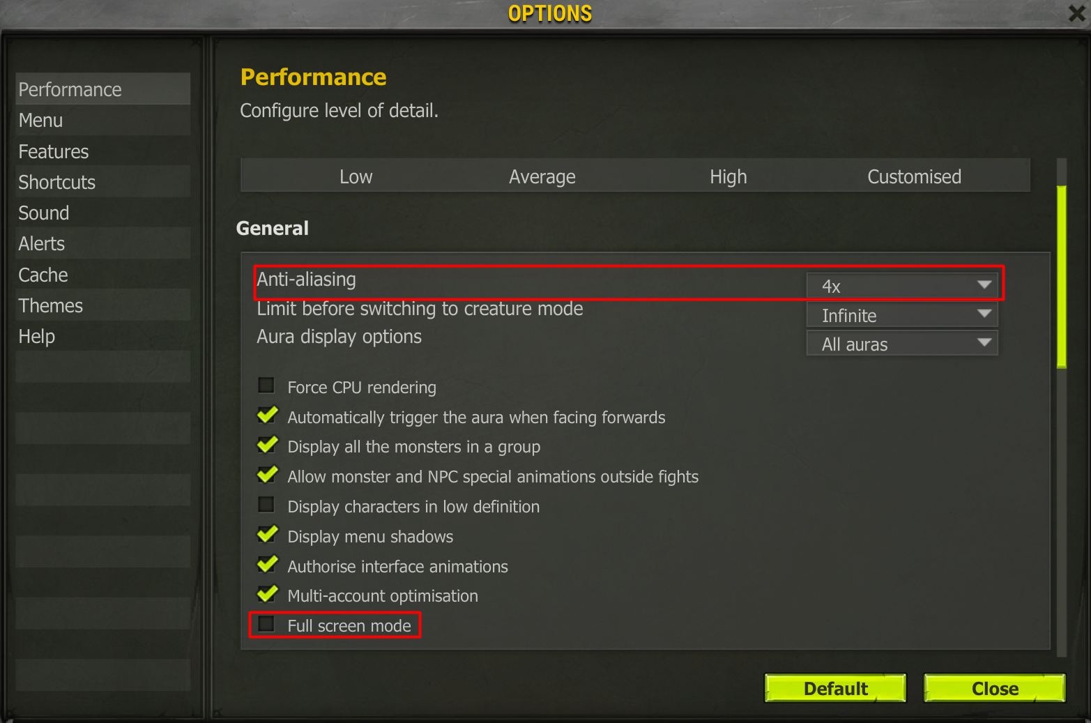 Assign the correct Performance settings in-game