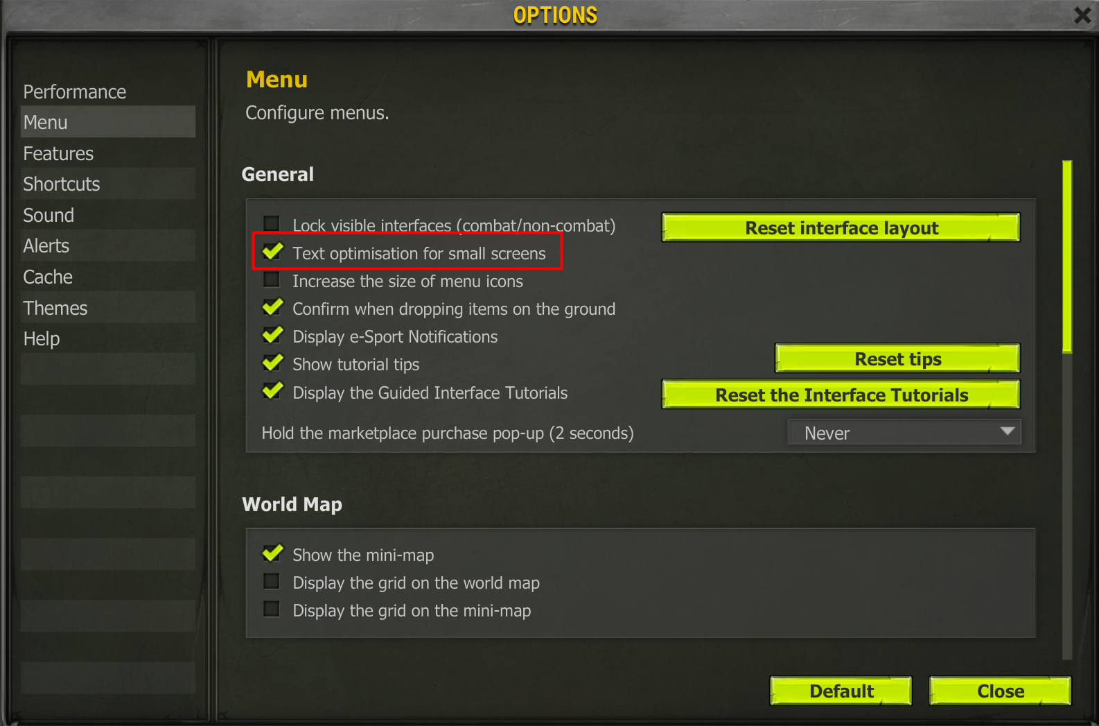 Assign the correct Menu settings in-game