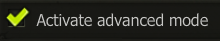 Activate advanced mode in the maging table